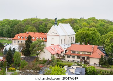 SANDOMIERZ, POLAND - APRIL 30: Church in the historic old town, which is a major tourist attraction, Poland on April 30, 2015. Sandomierz is located by Vistula river - the longest in Poland.