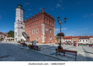 SANDOMIERZ, POLAND-SEPTEMBER 23, 2019: Sandomierz one of the oldest towns in Poland. Gothic city hall with clock tower and Renaissance attic