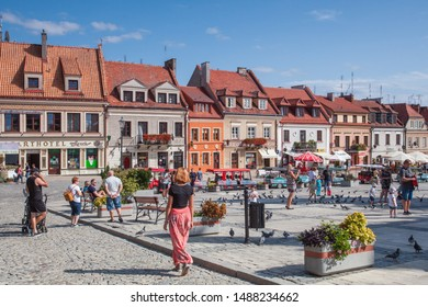 SANDOMIERZ, POLAND-SEPTEMBER 23, 2019: Sandomierz one of the oldest towns in Poland. The main square of the city with tenement houses.