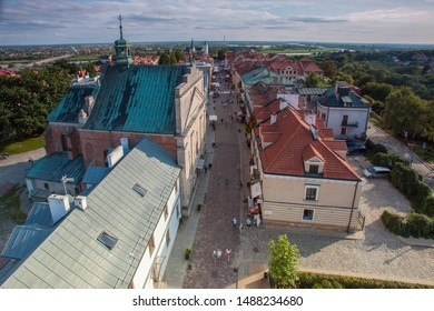SANDOMIERZ, POLAND-SEPTEMBER 23, 2019: Sandomierz one of the oldest towns in Poland. Aerial view of old town and Opatowska street
