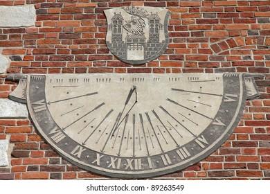 Sandomierz, town in Poland. Old town hall sundial.