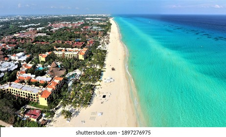 Sandos Playacar view from the sky, Playa del Carmen shoreline