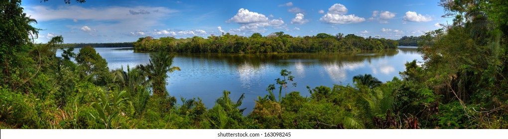 Sandoval Lake, in Tambopata national park, Peru.
