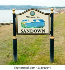 Sandown (bay) welcome sign. Isle of Wight England UK, east coast.