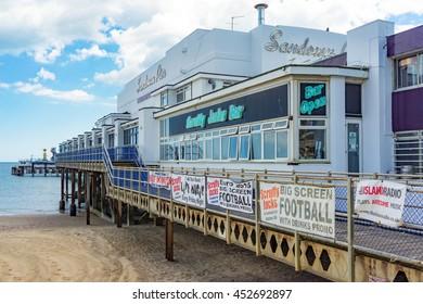 Sandown/UK. 14th July 2016. Amusements and arcades on Sandown Pier by the beach on a warm July day.