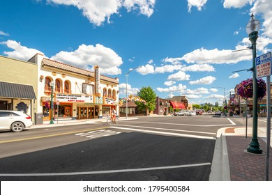 Sandpoint, Idaho - July 23 2020: First Avenue, the main street through the downtown area of Sandpoint, Idaho, on a summer day.
