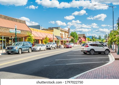 Sandpoint, Idaho USA - September 11 2020: First Avenue, the main street through the downtown area of Sandpoint, Idaho, on a summer day.