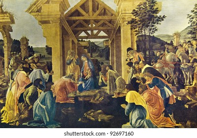 """""""Sandro Botticelli, """"The Adoration of the Kings"""". Reproduction from  illustrated Encyclopedia «Art galleries of Europe», Partnership «M.O. Wolf», St. Petersburg - Moscow, Russia , 1901"""