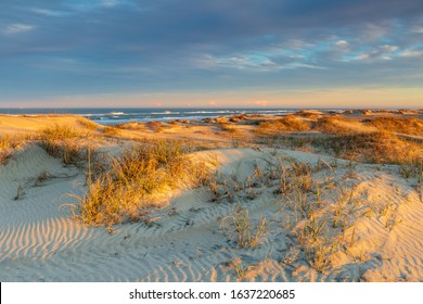 Sandscape of beach, dunes, sea oats and grasses on the shore of the Atlantic Ocean at Pea Island National Wildlife Refuge near Oregon Inlet on the Outer Banks of North Carolina.