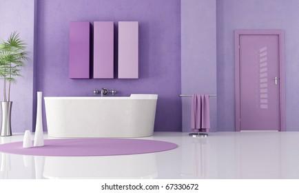 sandstone bathtub in a lilla bathroom - rendering