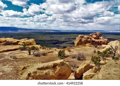 Sandstone Bluffs and Lava Fields of El Malpais National Monument, New Mexico. April 26, 2016.