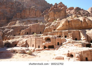 Sandstone caves carved into rock hillsides are still home to the Bedouin people at Petra in Jordan