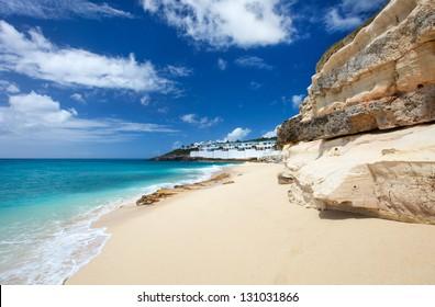 Sandstone cliffs at beautiful Cupecoy Beach on Sint Maarten/St Martin