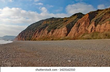 The sandstone cliffs of the Jurassic era rising from Salcombe Regis beach