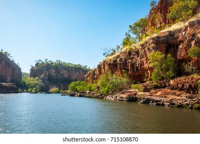 Sandstone Cliffs at Katherine River Gorge Cruise in Nitmiluk National Park, Northern Territory, Australia.