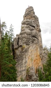 Sandstone climbers at Adrspach-Teplice Rocks, Czech Republic