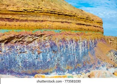Sandstone color bands in Makhtesh Ramon Crater, Negev desert, Israel