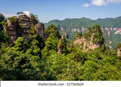 Sandstone columns in Zhangjiajie national park, China