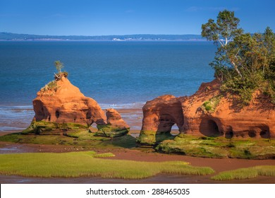 Sandstone formations near Paddy's Island, in North Medford, Bay of Fundy, Nova Scotia, Canada.