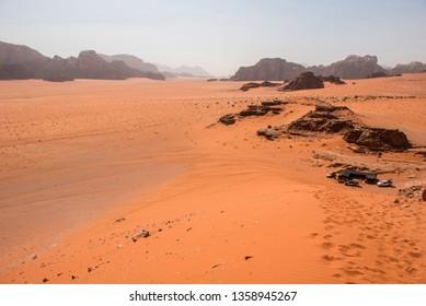 Sandstone and granite rocks in the desert. Wadi Rum, Jordan