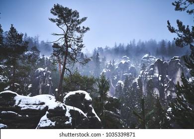 Sandstone labyrinth in winter