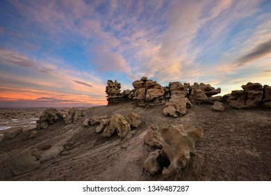 Sandstone rock formation at sunrise, Fantasy Canyon, Utah