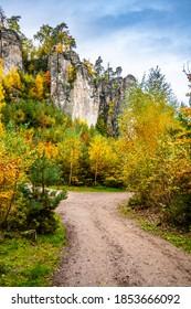 Sandstone rock formations in vibrant autumn forest. Prachov Rocks, Czech: Prachovske skaly, in Bohemian Paradise, Czech Republic - Shutterstock ID 1853666092