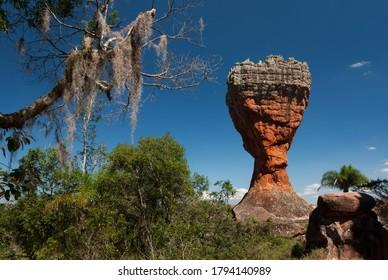 "Sandstone rock known as ""The Cup"", Vilha Velha State Park, Brazil."