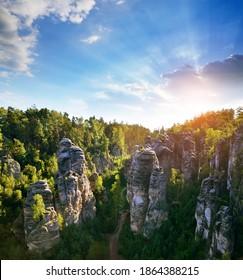 Sandstone rock in Prachovske skaly, Bohemian Paradise (Cesky Raj), Czechia - Shutterstock ID 1864388215