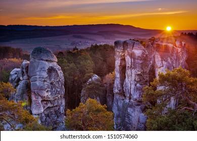 Sandstone rocks in Bohemian paradise