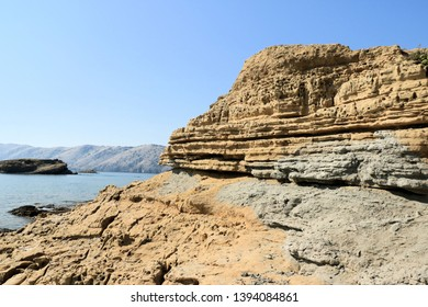 sandstone and sea near Lopar, island Rab, Croatia