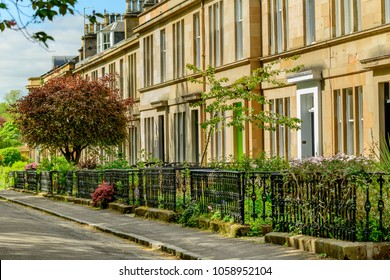 Sandstone terraced house in Hamilton Drive, west end in Glasgow.