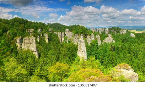 Sandstone towers in Hruboskalsko Rock Town, Bohemian Paradise nature reserve, Czech republic