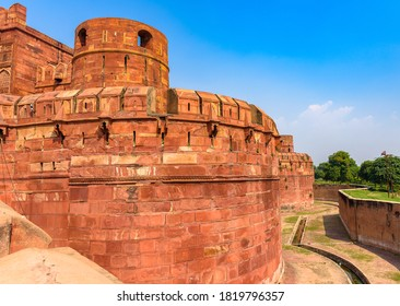 Sandstone wall of Agra Fort,a historical fort which was the main residence of the emperors of the Mughal Dynasty until 1638, when the capital was shifted from Agra to Delhi.
