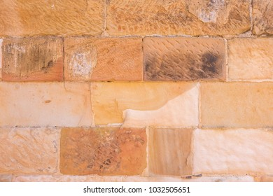 Sandstone wall, beautiful textures and natural patterns