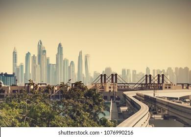 Sandstorm in Dubai. Dubai skyline in sand mist.