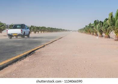 Sandstorm on the Trans-Kalahari Highway between Walvis Bay and Swakopmund, Namibia, Africa. / Sandstorm on the Trans Kalahari Highway