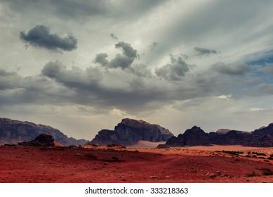 Sandstorm in Wadi Rum desert
