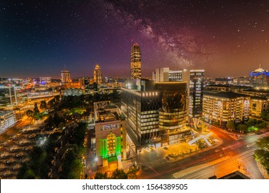Sandton city after sunset, at twilight and night