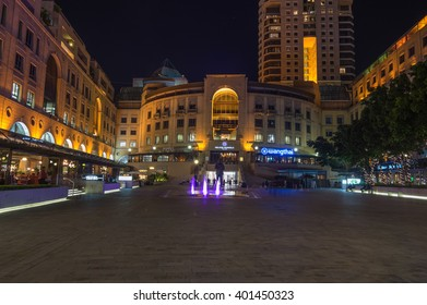 Sandton Johannesburg 29 March 2016 The Nelson Mandela Square at night