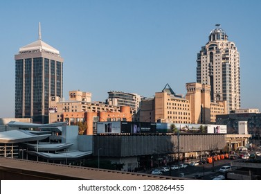 Sandton, Johannesburg Municipality, Gauteng / South Africa - June 13, 2018: Sandton skyline at night, Sandton hosted Africa Rail 2018, Africa's Largest Rail Exhibition & Conference