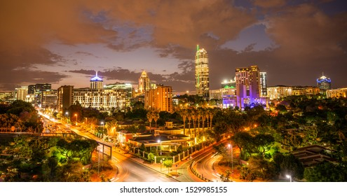 Sandton skyline at night illuminated buildings and streets