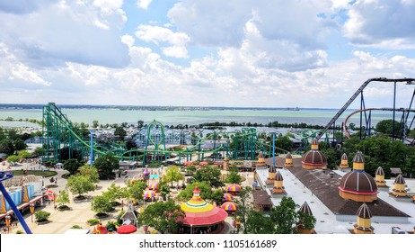 SANDUSKY, OH - June 1, 2018: Cedar Point Amusement Park was originally built in 1870 and has been one of the top amusement parks in the world with 72 rides, including 17 roller coasters.