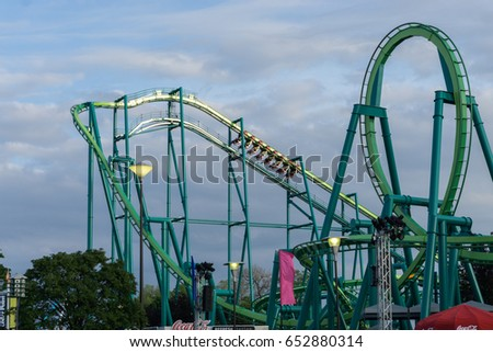 SANDUSKY. OH / UNITED STATES - May 27, 2017 - Cedar Point Amusement Park - Sunset in Park on Raptor