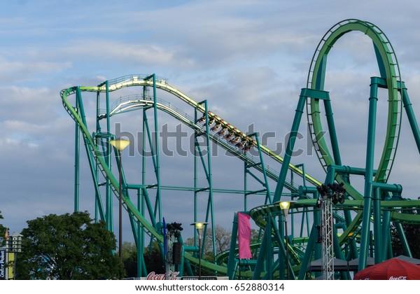 SANDUSKY. OH / UNITED STATES - May 27, 2017 - Cedar Point Amusement Park - Sunset in Park on Raptor
