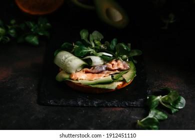 sandwich with avocado red fish cucumber on dark background