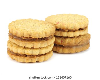 sandwich biscuits with caramelized condensed milk filling on a white background