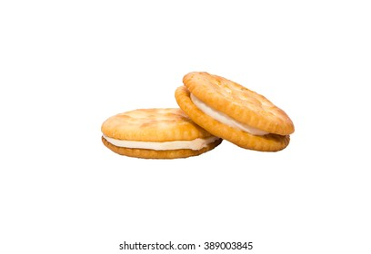 Sandwich biscuits with cream. Isolated on white background with clipping path and copy space
