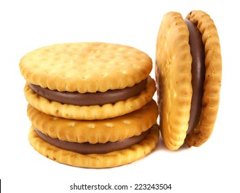 Sandwich biscuits, filled with cocoa cream, isolated on white background