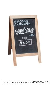 Sandwich board advertising Fish and Chips for sale